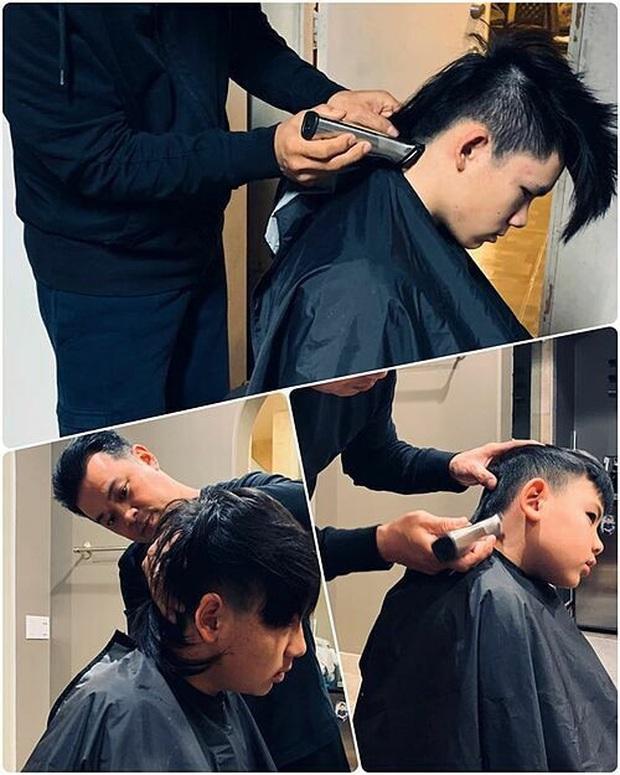 Sao Việt hóa thợ cắt tóc cho nhóc tỳ mùa dịch: Thu Minh chỉ sợ con biết thành quả, quỳ trước biểu cảm quý tử Hải Băng - Ảnh 7.