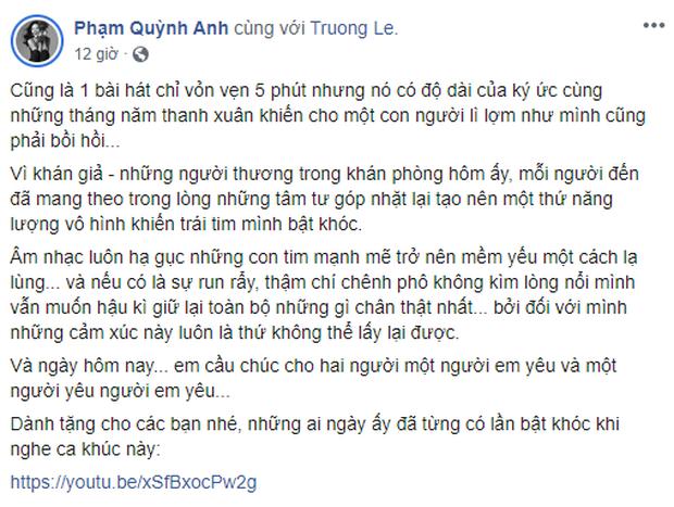Phạm Quỳnh Anh bồi hồi chia sẻ lại đoạn clip vừa khóc vừa hát Tình Yêu Cao Thượng, fan tràn vào an ủi và so deep nhớ về thời thanh xuân - Ảnh 2.