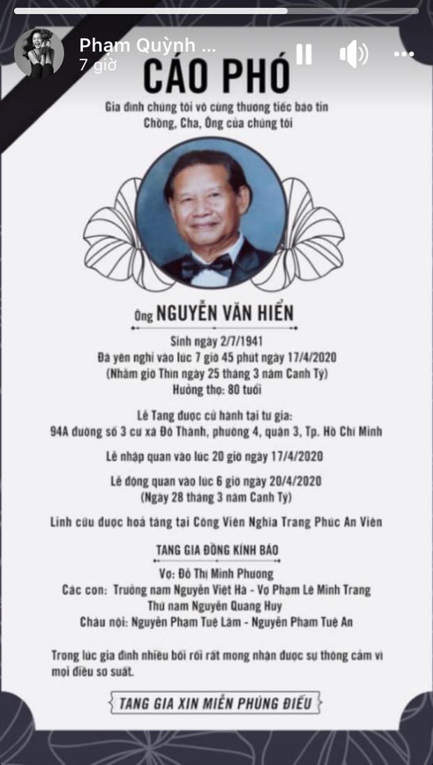 Bố đạo diễn Quang Huy qua đời, Phạm Quỳnh Anh vẫn có động thái làm tròn bổn phận con trong nhà dù đã ly hôn  - Ảnh 3.