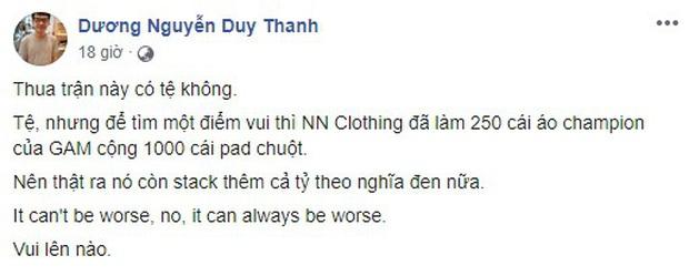 GAM thua đau đớn, HLV Tinikun chia sẻ việc bị lỗ cả tỷ đồng vì lỡ in áo GAM Champion và pad chuột nhưng không thể bán - Ảnh 1.