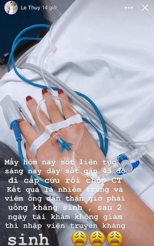 Lê Thúy liên tục sốt cao, nhập viện cấp cứu vì bị nhiễm trùng và viêm ống dẫn thận - Ảnh 2.