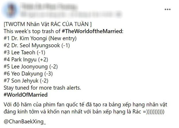 Netizen xếp hạng 7 nhân vật đáng ghét nhất Thế Giới Hôn Nhân: Tiểu tam - chồng tồi tụt hạng nhường đất diễn cho cái tên này - Ảnh 2.
