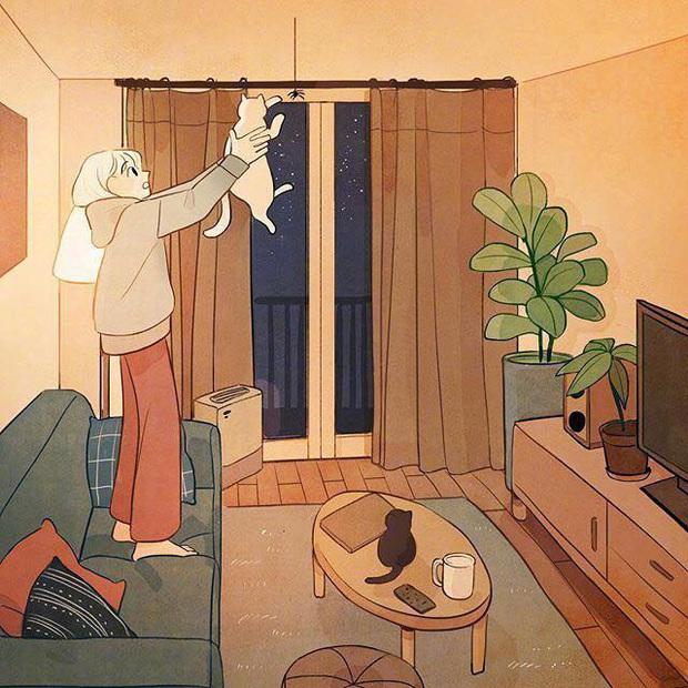 Bộ tranh: Con gái thường làm gì lúc ở nhà một mình? - Ảnh 1.