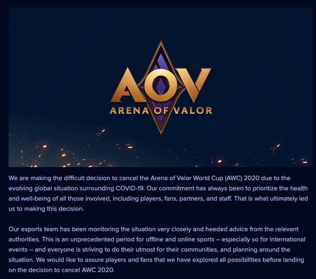 Nóng: Garena thông báo giải đấu Liên Quân quốc tế AWC 2020 bị hoãn vì Covid-19 - Ảnh 3.