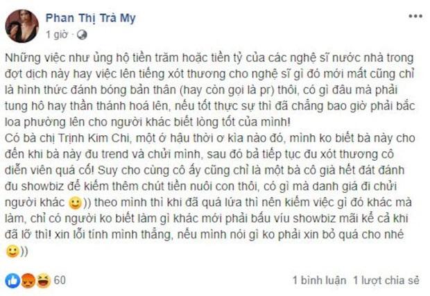 Trà My Thương nhớ ai đó lý giải nguyên do công khai mỉa mai nghệ sĩ Trịnh Kim Chi: Tôi bị xúc phạm trước - Ảnh 2.