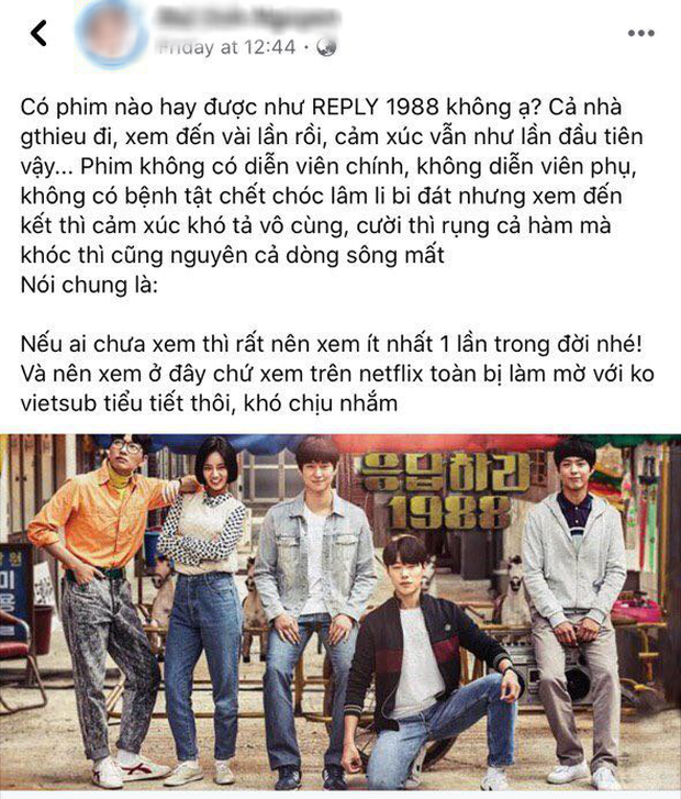 Netizen Việt bồi hồi nhớ nhung Reply 1988 sau 4 năm gây bão Hàn Quốc, leo thẳng top 3 Netflix giữa mùa ở nhà cày phim - Ảnh 4.