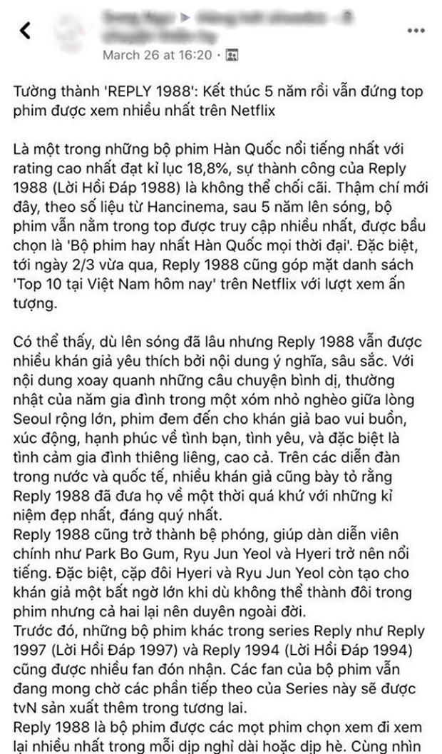 Netizen Việt bồi hồi nhớ nhung Reply 1988 sau 4 năm gây bão Hàn Quốc, leo thẳng top 3 Netflix giữa mùa ở nhà cày phim - Ảnh 2.