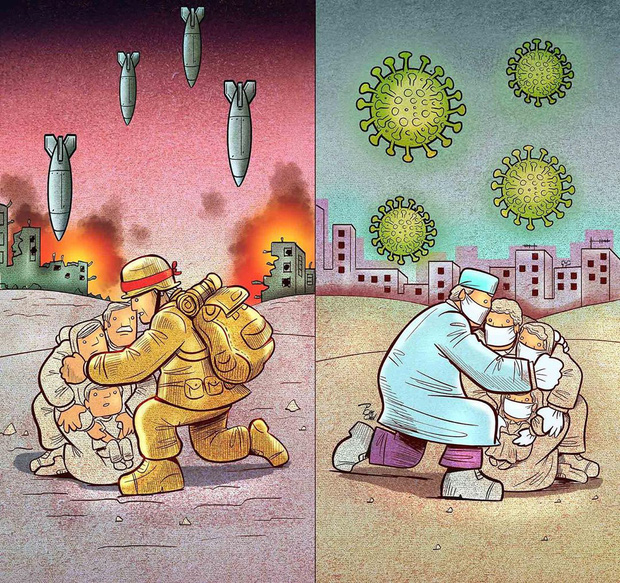 Bộ tranh về những người ở tuyến đầu chống dịch Covid-19: Dù virus là kẻ thù vô hình nhưng cuộc chiến vẫn quá tàn nhẫn và có nhiều sự hy sinh! - Ảnh 12.