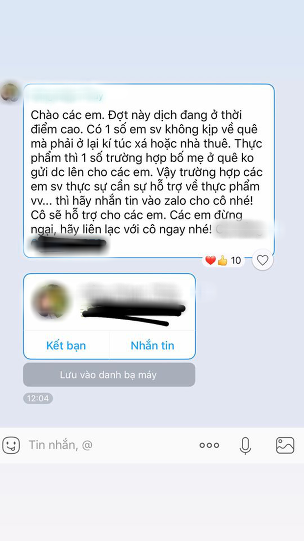 Sợ sinh viên ở thành phố một mình, cô giáo nhắn tin siêu ưng bụng: Thiếu quá đừng ăn mỳ tôm, nhắn cô mang thực phẩm hoặc tiền sang cho - Ảnh 1.