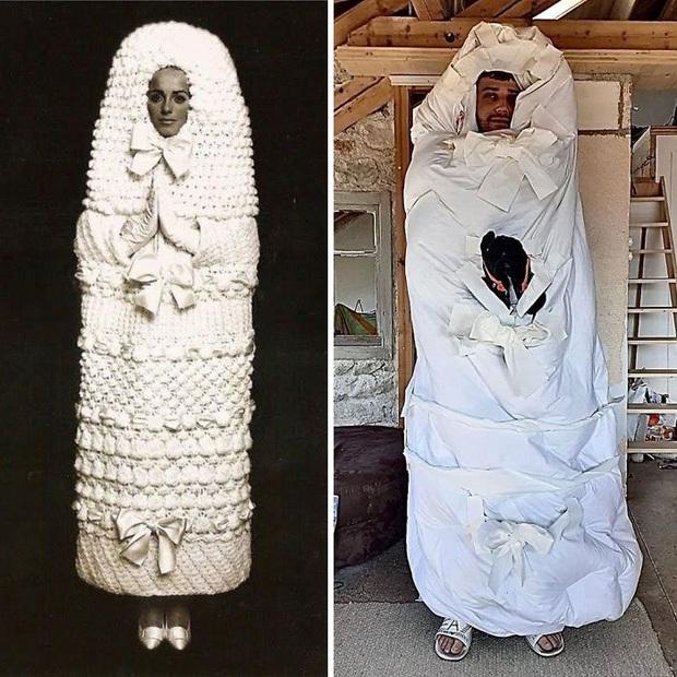 Ở nhà chán quá, cư dân mạng lên ý tưởng tái chế trang phục nhà mẫu cao cấp bằng đồ dùng trong nhà - Ảnh 2.