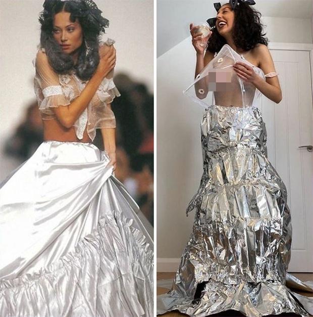 Ở nhà chán quá, cư dân mạng lên ý tưởng tái chế trang phục nhà mẫu cao cấp bằng đồ dùng trong nhà - Ảnh 15.