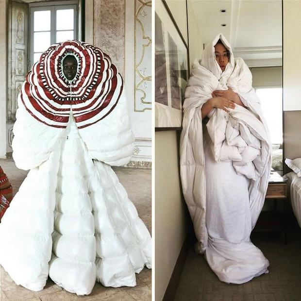 Ở nhà chán quá, cư dân mạng lên ý tưởng tái chế trang phục nhà mẫu cao cấp bằng đồ dùng trong nhà - Ảnh 16.