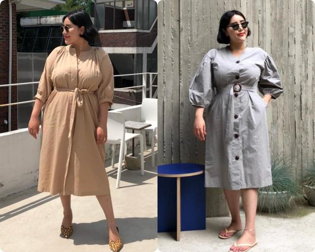 Nặng tới hơn 80kg nhưng lại siêu ghét đồ đen, nàng mập xứ Hàn vẫn diện váy xinh tươi nhờ chọn đúng kiểu dáng - Ảnh 1.