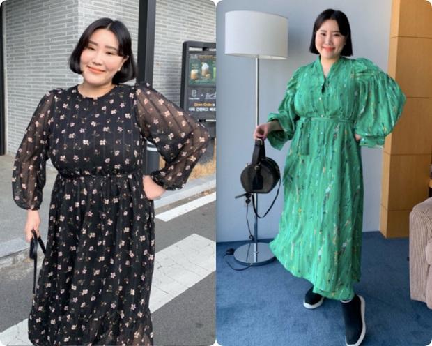 Nặng tới hơn 80kg nhưng lại siêu ghét đồ đen, nàng mập xứ Hàn vẫn diện váy xinh tươi nhờ chọn đúng kiểu dáng - Ảnh 4.