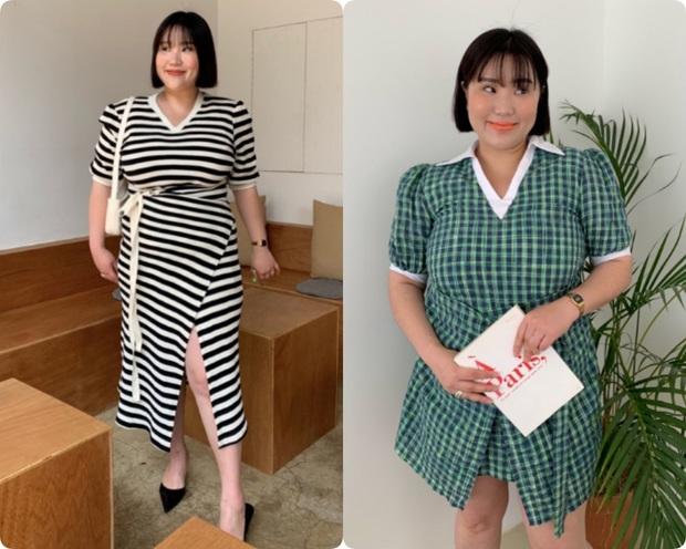 Nặng tới hơn 80kg nhưng lại siêu ghét đồ đen, nàng mập xứ Hàn vẫn diện váy xinh tươi nhờ chọn đúng kiểu dáng - Ảnh 7.