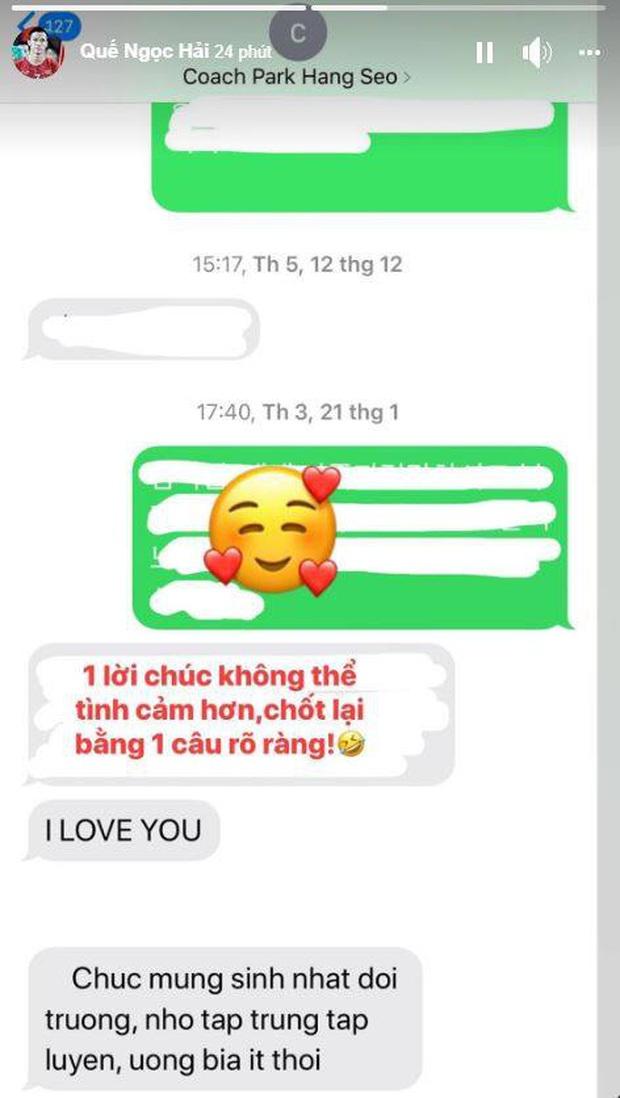 HLV Park Hang-seo nhắn tin bằng tiếng Việt, nhắc đội trưởng Quế Ngọc Hải uống bia ít thôi - Ảnh 1.