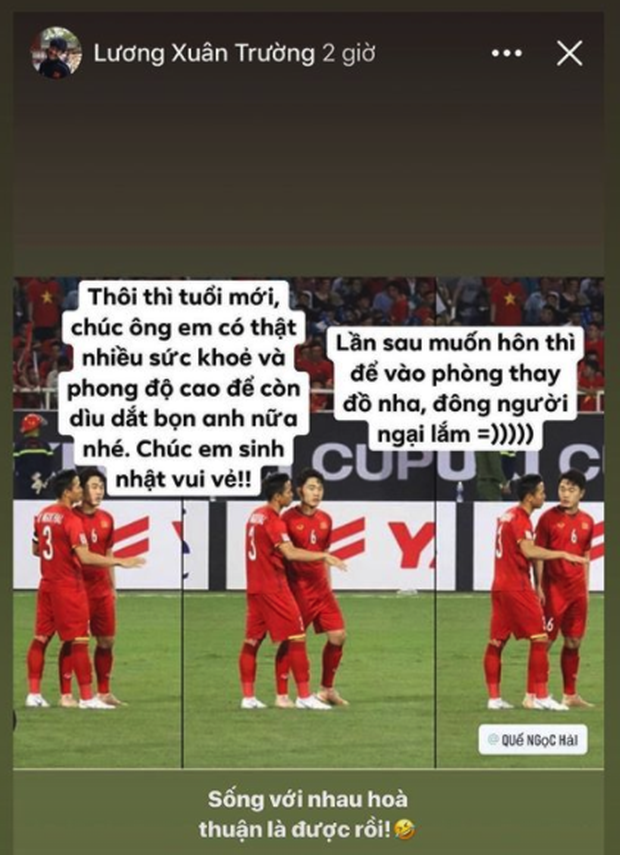 Chúc sinh nhật đội trưởng tuyển Việt Nam kiểu Xuân Trường: Muốn hôn thì vào phòng thay đồ, đông người ngại lắm - Ảnh 1.