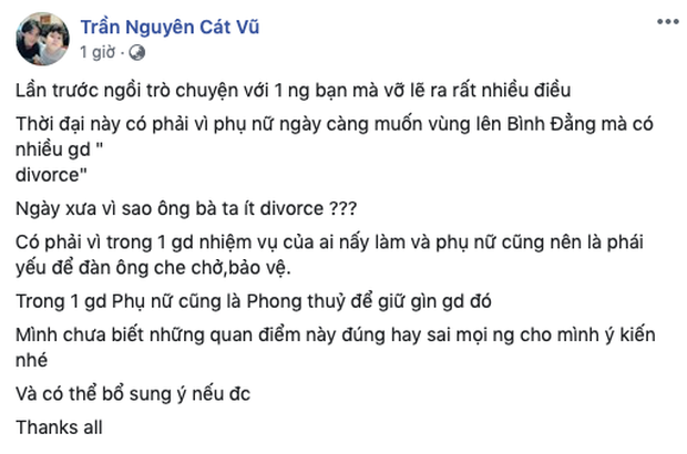 Hậu tan vỡ với Trương Quỳnh Anh, Tim gây chú ý khi bày tỏ quan điểm: Có phải vì phụ nữ ngày càng muốn bình đẳng mà nhiều gia đình ly hôn? - Ảnh 2.