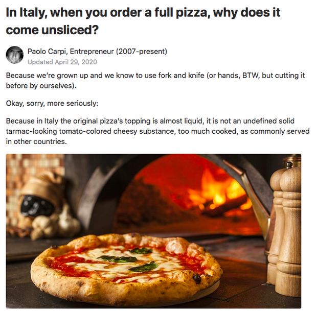 """""""Khi bạn mua pizza ở Ý, nhà hàng sẽ không bao giờ cắt sẵn bánh cho bạn"""": Lý do đằng sau khiến cả thế giới phải thán phục - Ảnh 1."""
