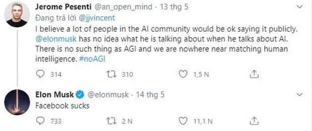 Bị giám đốc Facebook chế giễu kém hiểu biết, Elon Musk đáp trả kiểu cãi cùn: Facebook dở ẹc - Ảnh 1.