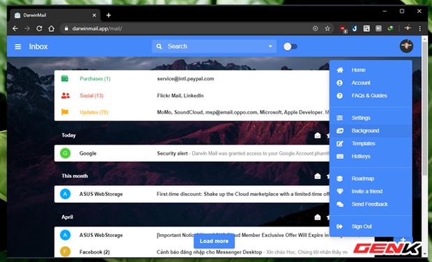 """Khoác """"áo"""" mới cho Gmail của bạn với mẹo làm mới giao diện cực đẹp đến từ Darwin Mail - Ảnh 5."""