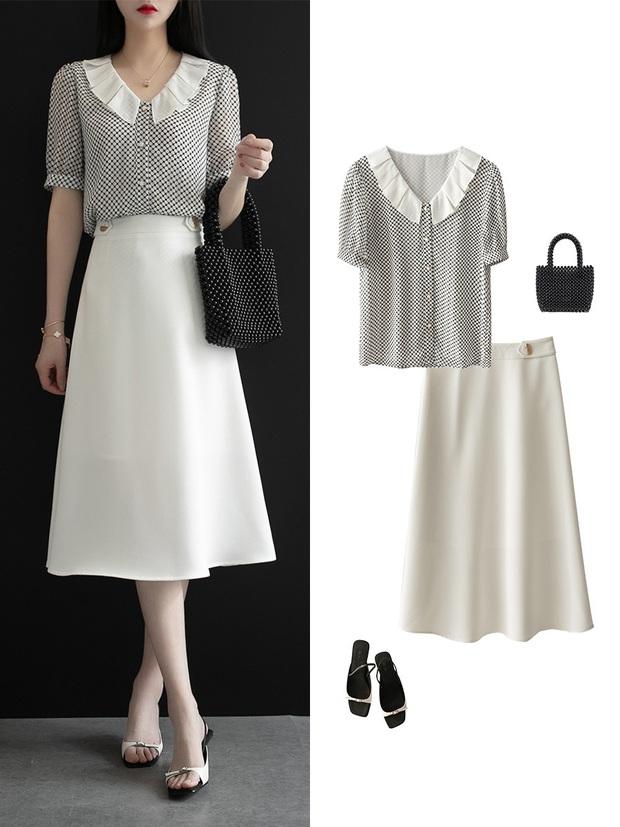 Gợi ý 12 set đồ với chân váy trắng vừa xinh lại gọn dáng hết sảy cho nàng công sở - Ảnh 2.