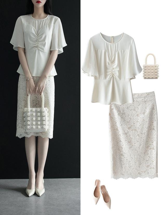 Gợi ý 12 set đồ với chân váy trắng vừa xinh lại gọn dáng hết sảy cho nàng công sở - Ảnh 5.