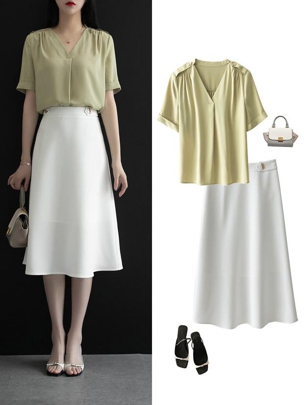 Gợi ý 12 set đồ với chân váy trắng vừa xinh lại gọn dáng hết sảy cho nàng công sở - Ảnh 8.