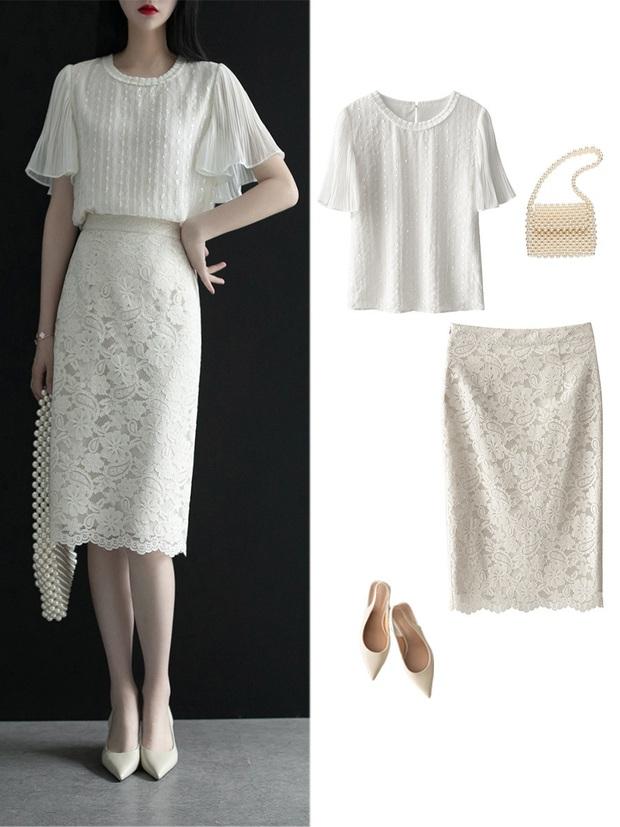 Gợi ý 12 set đồ với chân váy trắng vừa xinh lại gọn dáng hết sảy cho nàng công sở - Ảnh 9.