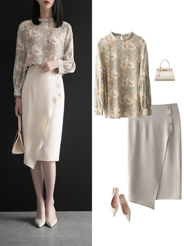 Gợi ý 12 set đồ với chân váy trắng vừa xinh lại gọn dáng hết sảy cho nàng công sở - Ảnh 10.