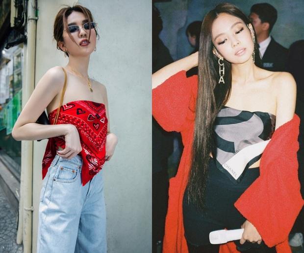 Ngọc Trinh copy Jennie nhưng lại thất thế trước cả Minh Hằng và Khánh Linh khi cùng chế khăn thành trang phục - Ảnh 8.