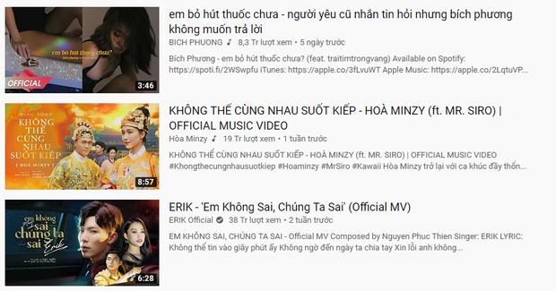 Sau 16 ngày chị em Hoà Minzy - Erik chiếm đóng, cuối cùng ngôi vương #1 trending cũng đổi chủ cho Bích Phương và traitimtrongvang rồi! - Ảnh 4.