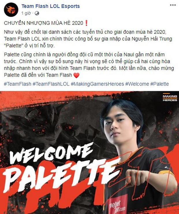 Team Flash chính thức có được Palette, game thủ Việt lo lắng cho VCS - chơi 1 mình đi ai chơi lại - Ảnh 1.
