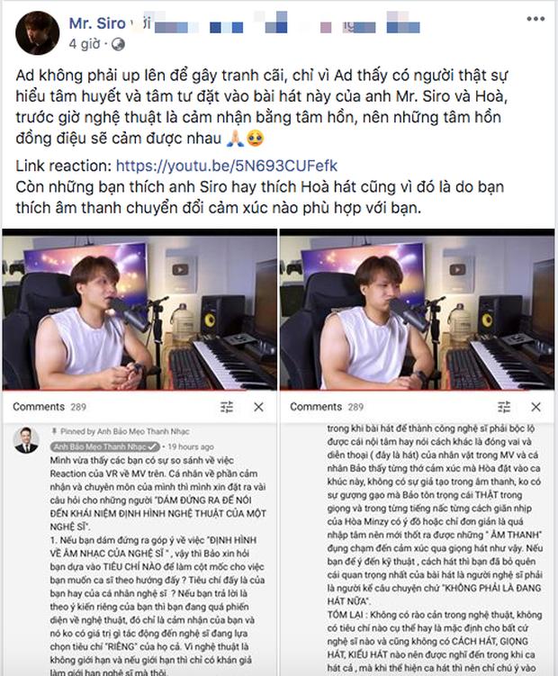 Sau ồn ào tranh cãi về giọng hát của Hoà Minzy trong hit mới, fanpage Mr. Siro bất ngờ công khai share reaction bênh vực nữ ca sĩ - Ảnh 4.