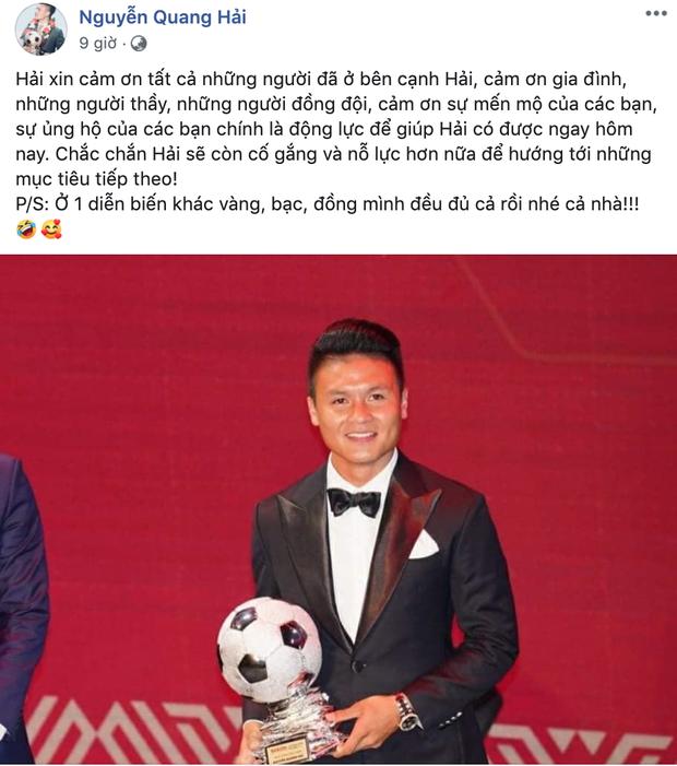Quang Hải đăng bài cảm ơn sau khi giành Quả bóng bạc Việt Nam, fan lại tới tấp chê chuyện đời tư - Ảnh 1.