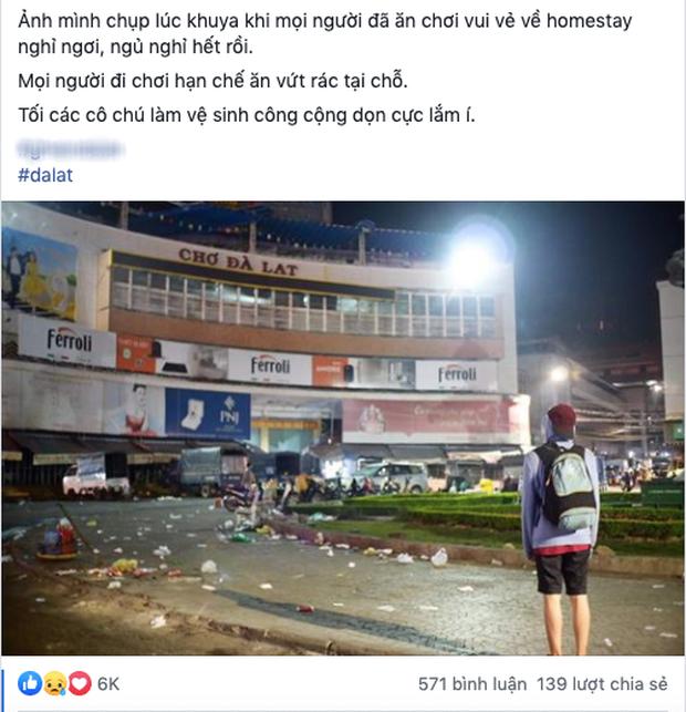 """Đăng ảnh chợ đêm Đà Lạt ngập tràn rác chỉ sau một đêm, chàng trai nhận được câu nói """"xanh rờn"""" từ dân mạng: """"Chợ nào mà chẳng có rác bạn ơi?"""" - Ảnh 1."""