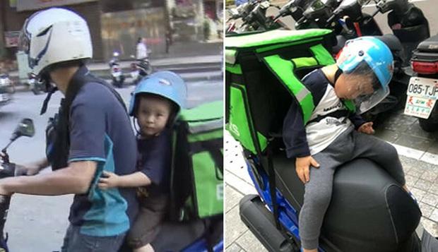 Hình ảnh ông bố đơn thân chở con nhỏ vắt vẻo sau lưng trên hành trình giao hàng khiến nhiều người thương cảm  - Ảnh 1.
