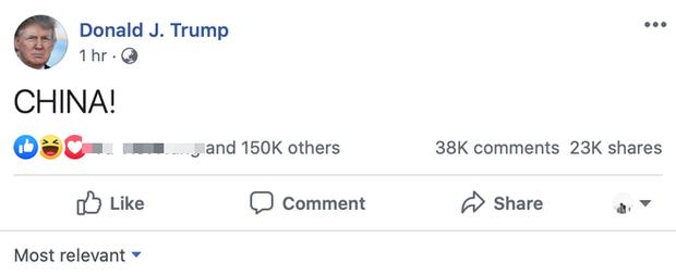 Dòng tweet có đúng 1 chữ CHINA! của Tổng thống Donald Trump lan truyền dữ dội trên các mạng xã hội - Ảnh 1.