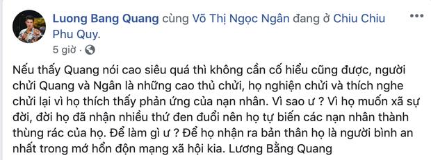 Lương Bằng Quang ra sức bênh vực Ngân 98 trước lùm xùm đá đểu Ngọc Trinh, tiện thể khoe thành quả nhờ bạn gái - Ảnh 2.