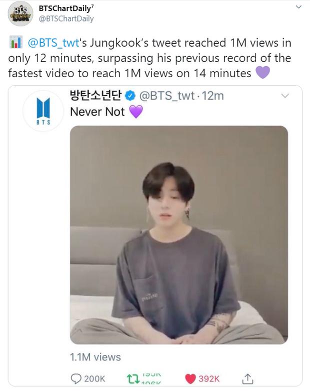 """3 giờ sáng Jungkook (BTS) còn chưa ngủ: """"lọ mọ"""" hát hò, thế mà phá luôn kỉ lục Twitter khi đạt triệu view """"sương sương"""" trong… 12 phút! - Ảnh 3."""
