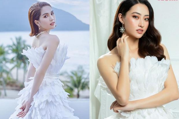 Cùng 1 bộ váy: Ngọc Trinh bỗng kém đẹp so với Lương Thùy Linh vì vóc dáng gầy gò, trơ xương thiếu sức sống - Ảnh 1.
