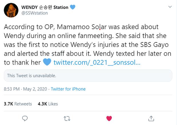 Chấn động biến mới về vụ tai nạn kinh hoàng của Wendy ở SBS Gayo Daejun 2019, fan phẫn nộ tố SM vô trách nhiệm, SBS nói dối - Ảnh 2.