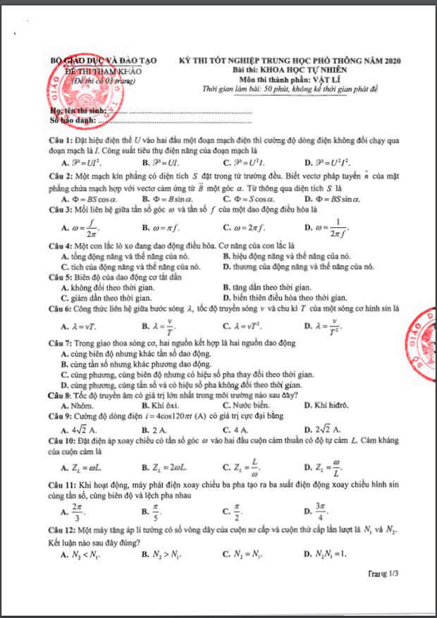 Đề thi tham khảo kỳ thi tốt nghiệp THPT năm 2020 môn Vật lý - Ảnh 1.
