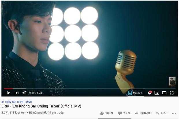 MV mới bay thẳng lên top 1 trending YouTube, Erik vượt mặt người anh em Đức Phúc về thời gian cán mốc ngôi vương - Ảnh 2.