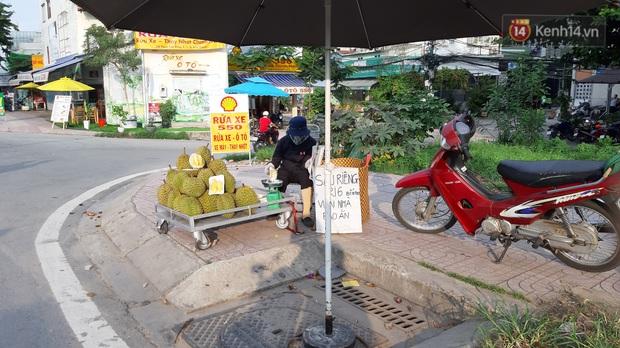 Sầu riêng bao ăn chất đống khắp vỉa hè Sài Gòn với giá siêu rẻ chỉ 50.000 đồng/kg: Gặp hạn mặn nên bán được đồng nào hay đồng đó! - Ảnh 1.