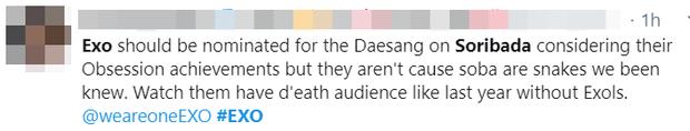 EXO bị loại khỏi đề cử Bonsang của lễ trao giải Soribada vì có… thành viên rời nhóm, lý do thiếu thuyết phục khiến fan phẫn nộ đòi giải thích - Ảnh 9.