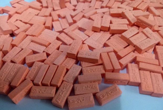 Ma túy tổng hợp dạng viên nén màu hồng được thu giữ.