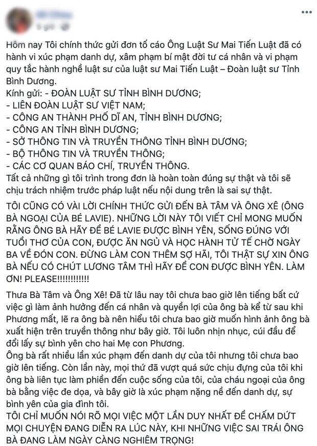 NÓNG: Bảo mẫu của con gái Mai Phương quyết kiện ngược bố mẹ cố diễn viên và luật sư, công khai đăng đàn đấu tố - Ảnh 5.