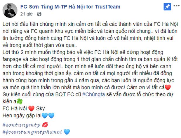 Người hâm mộ của Sơn Tùng M-TP sao thế này: hết FC Đà Nẵng ngừng hoạt động giờ đến FC Hà Nội cũng rút lui, fan hoang mang tột độ! - Ảnh 1.