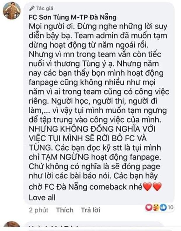 Người hâm mộ của Sơn Tùng M-TP sao thế này: hết FC Đà Nẵng ngừng hoạt động giờ đến FC Hà Nội cũng rút lui, fan hoang mang tột độ! - Ảnh 5.